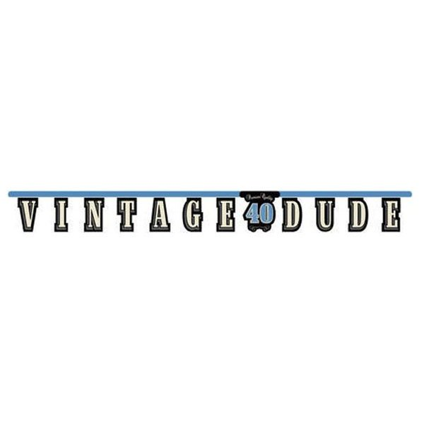 Vintage Dude 40th Birthday Jointed Banner 18cm x 1.7m