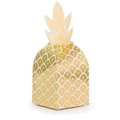 Pineapple Wedding Favor Treat Boxes Foil Cardboard 7cm x 17cm