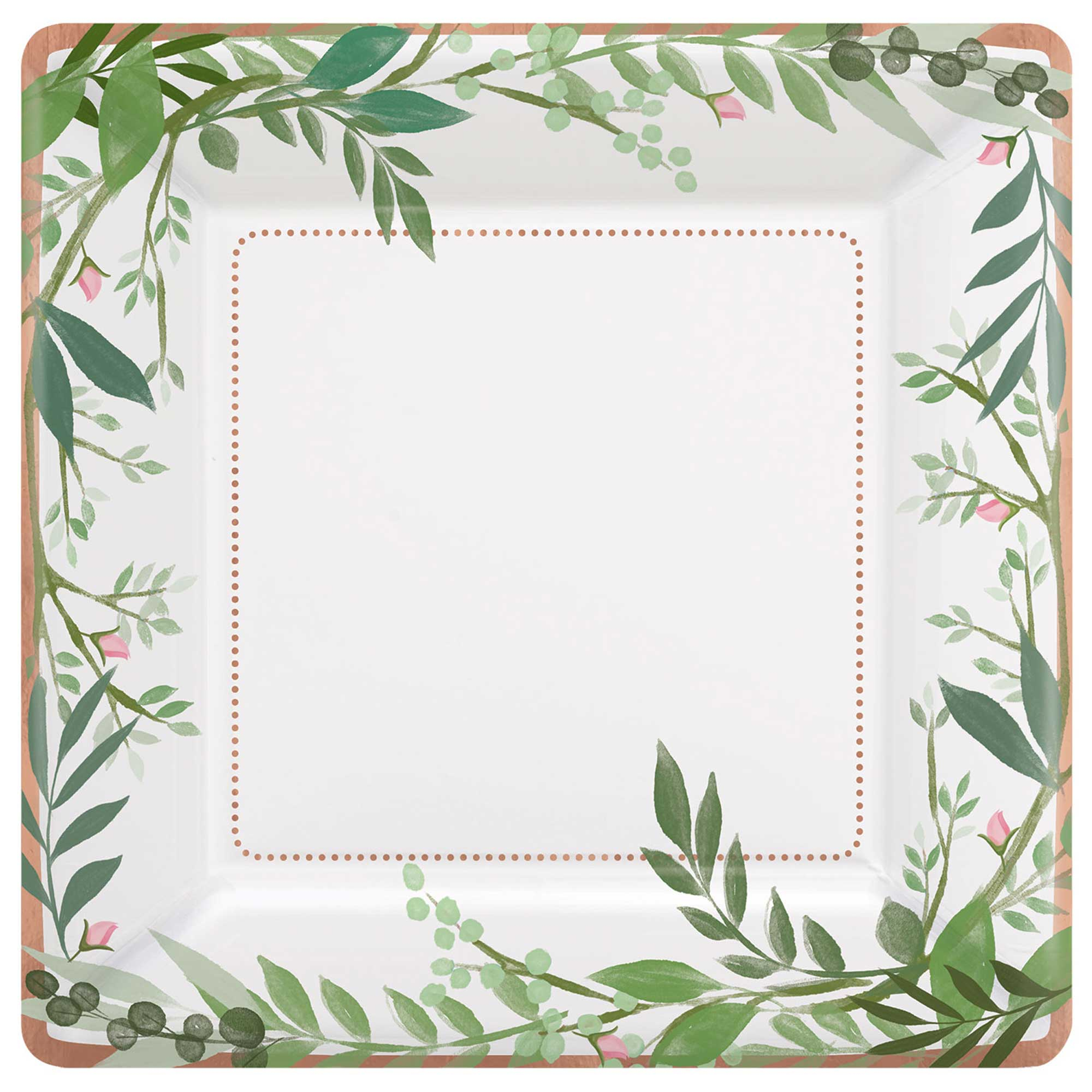 """""""Love and Leaves 10""""""""/25cm  Square Met Paper Plates"""