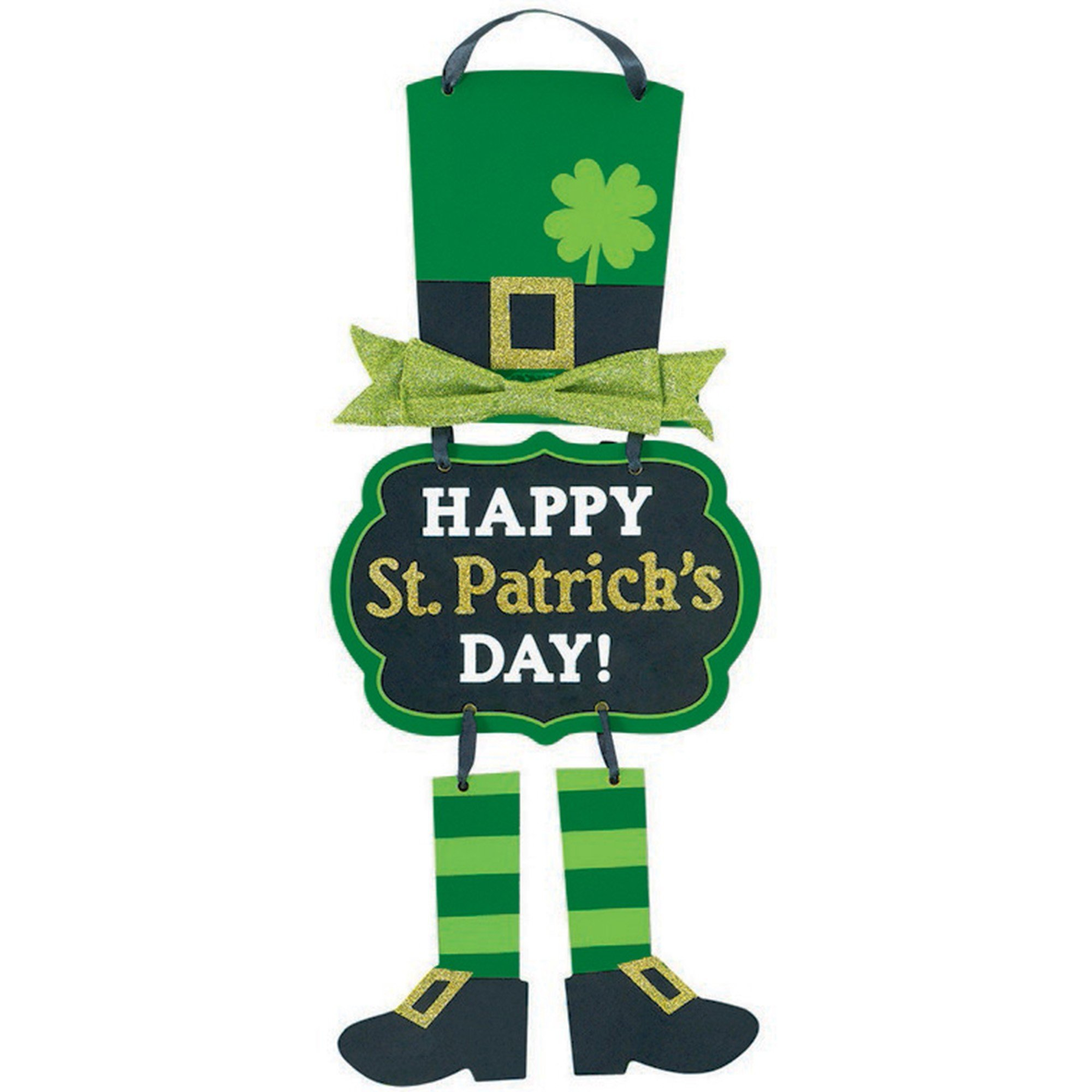 Happy St Patrick's Day Leprechaun Triple MDF Sign with Bow & Ribbon Hanger