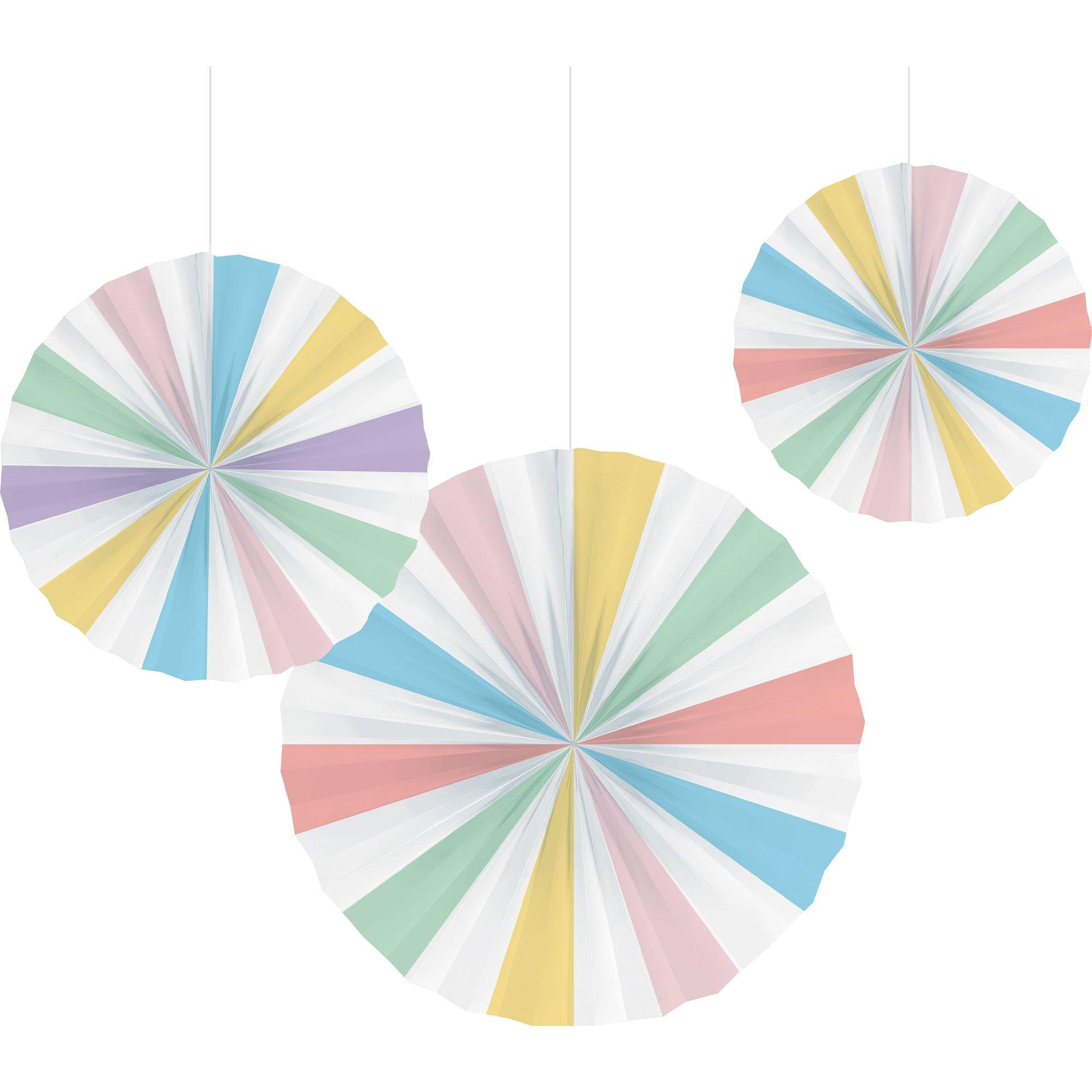 Pastel Celebrations Paper Fan Decorations 25cm, 30cm & 40cm