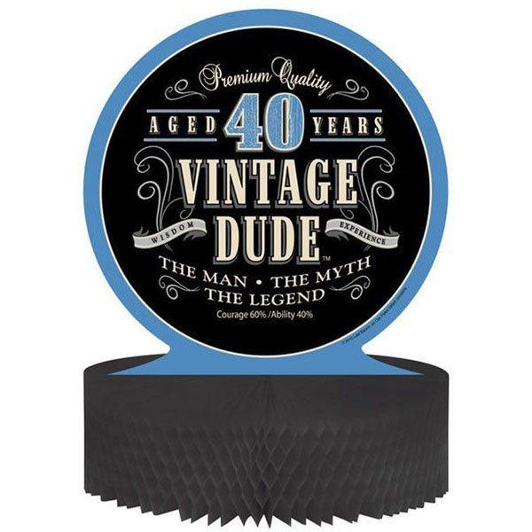 Vintage Dude 40th Birthday Centrepiece Honeycomb 30cm
