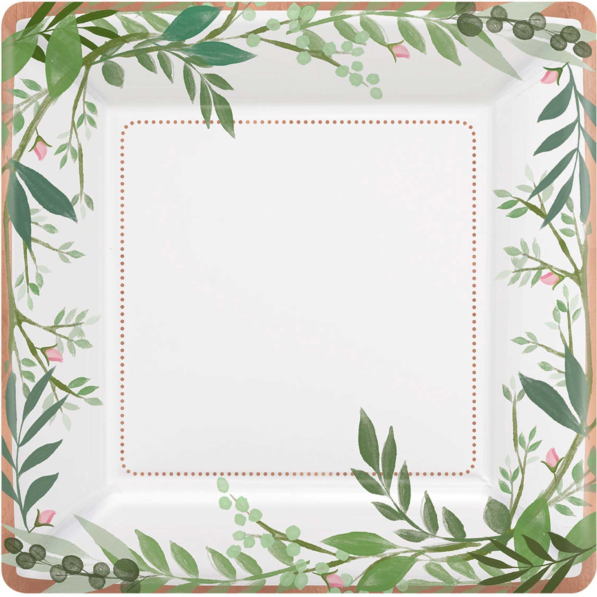 Love and Leaves 17cm Square Metallic Plates