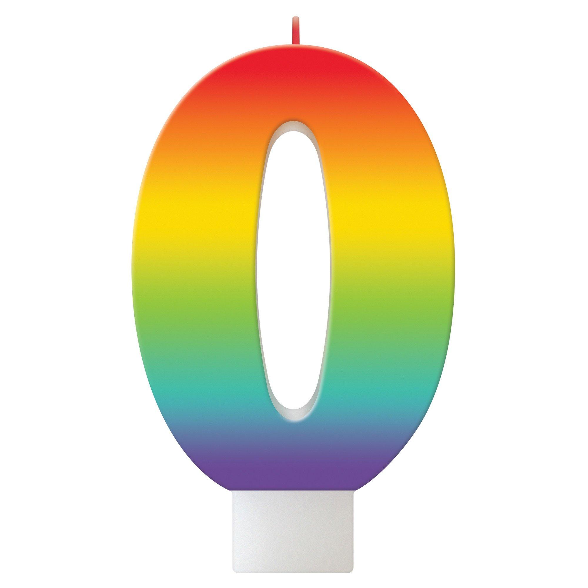 Birthday Celebration Rainbow Candle Number #0
