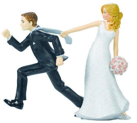Cake Topper Bride & Groom Tie Puller Resin