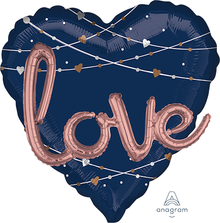 Multi-Balloon Heart Navy Wedding love P75