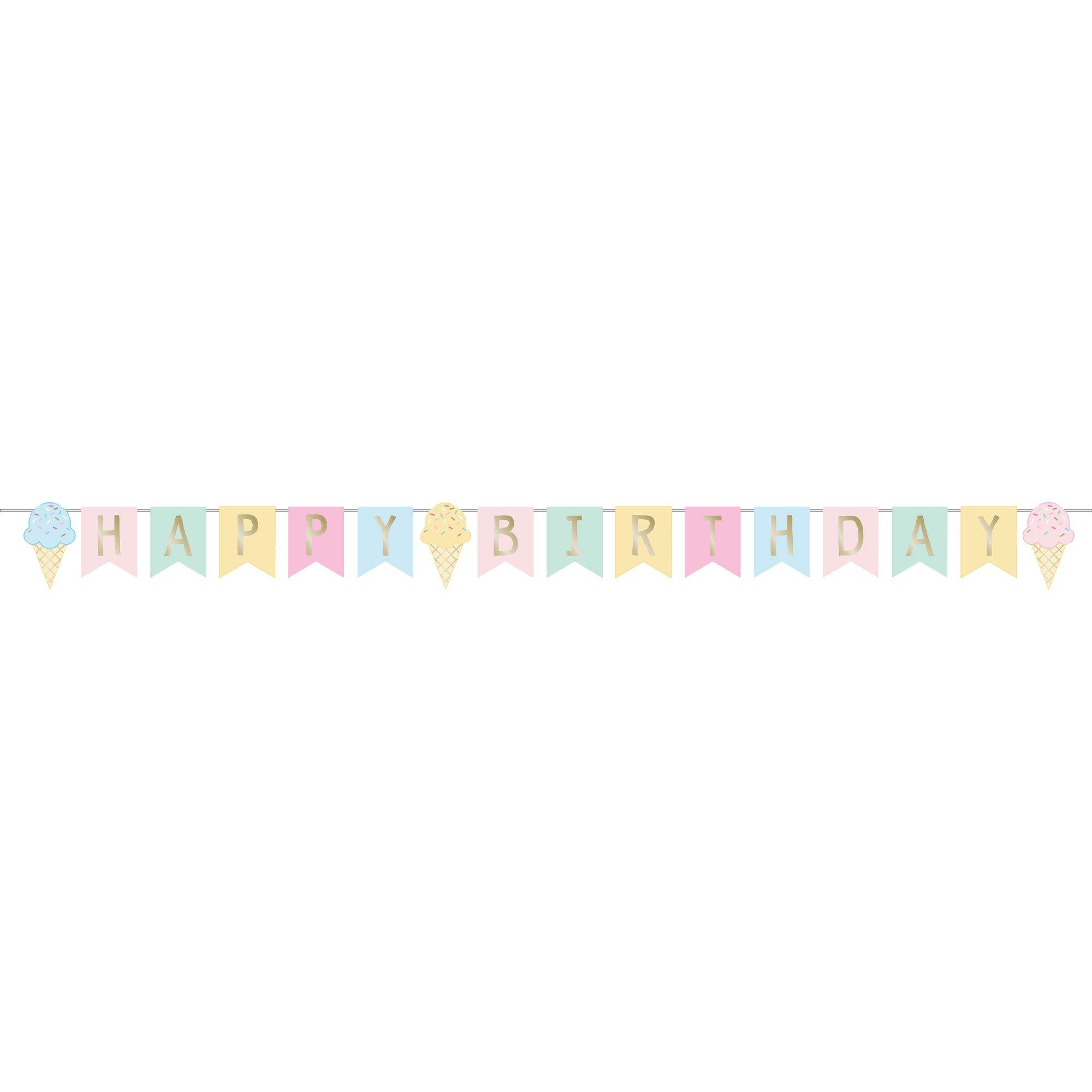 Ice Cream Party Decor Happy Birthday Ribbon Banner & Foil 15cm x 2.52m