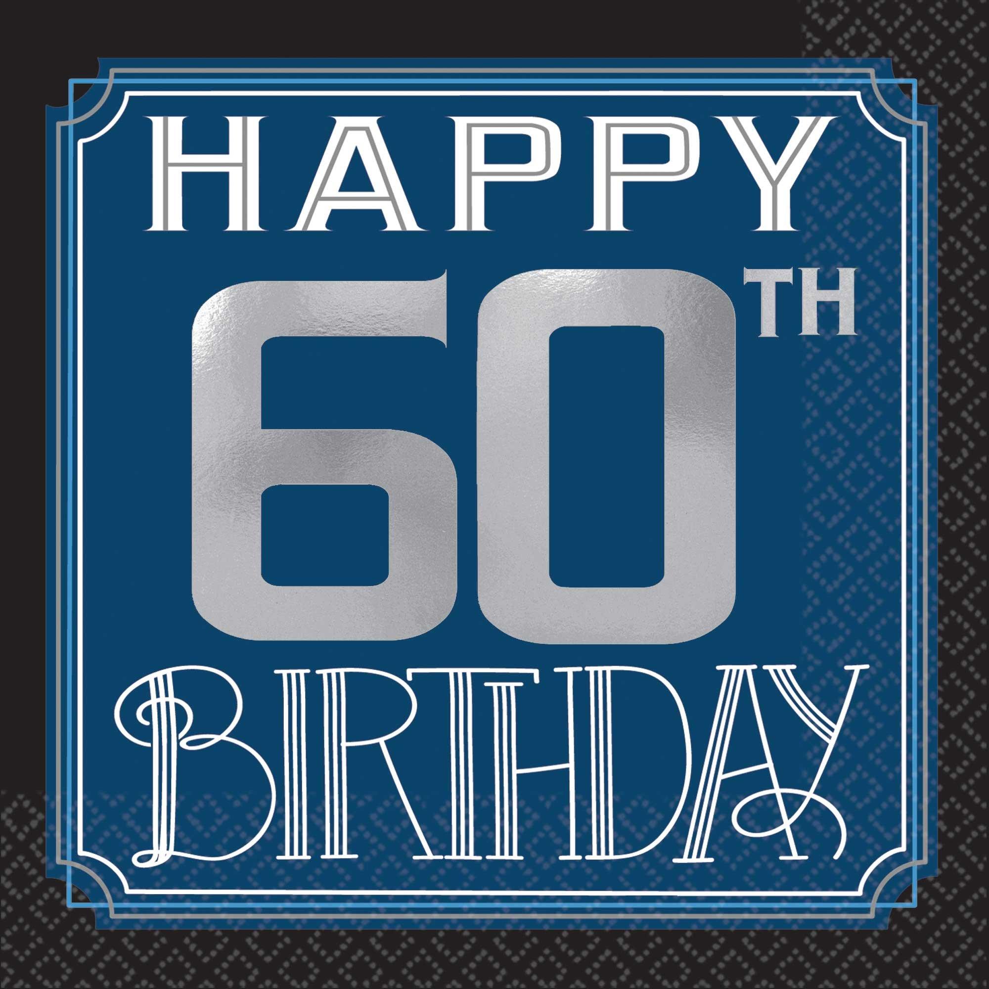 Happy 60th Birthday Man Beverage Napkins Hot Foil Stamped