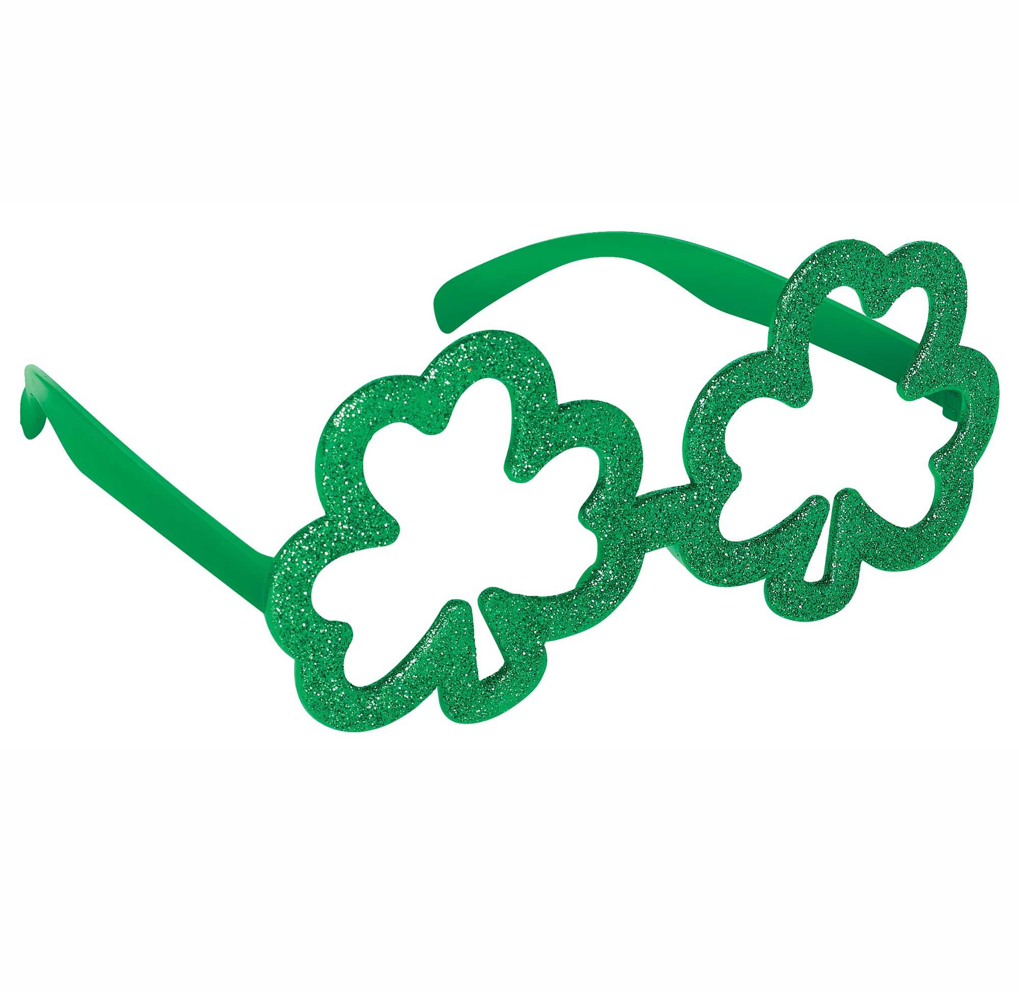 St Patrick's Day Shamrock Shaped Glittered Glasses