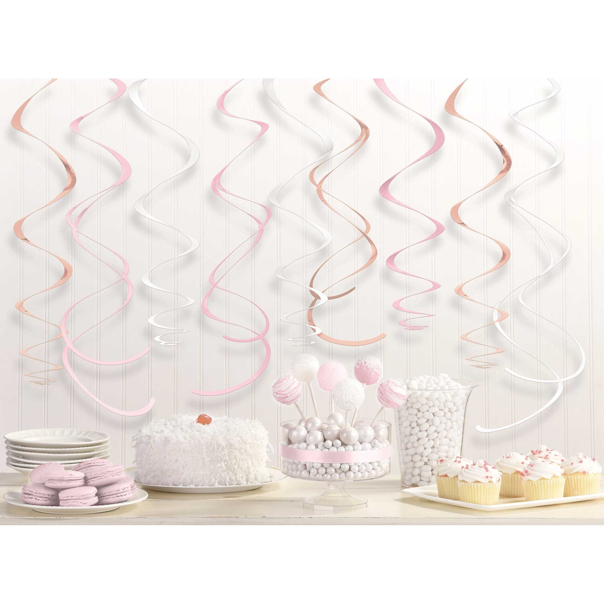 Rose Gold & Blush Hanging Swirls Decorations Foil & Plastic