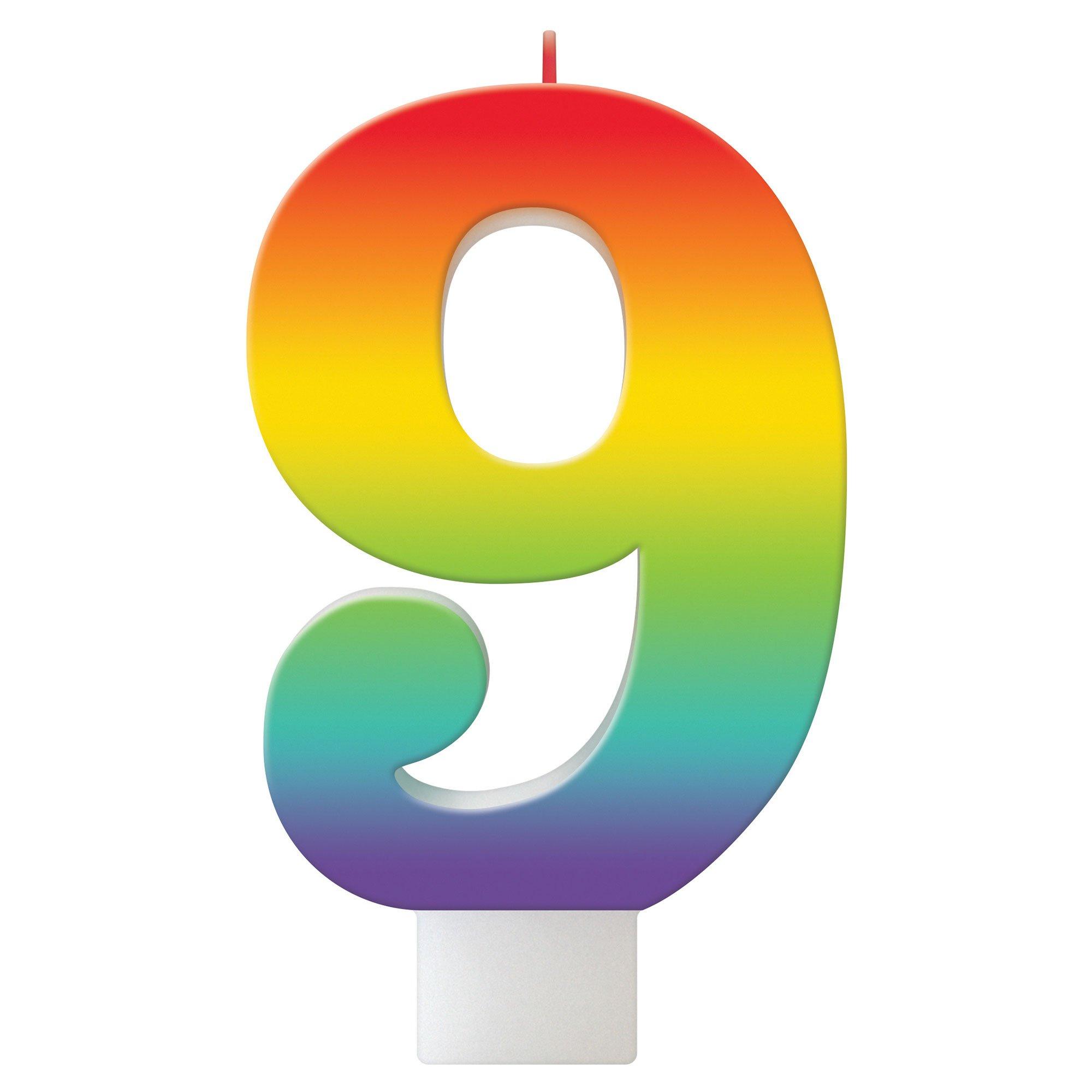 Birthday Celebration Rainbow Candle Number #9