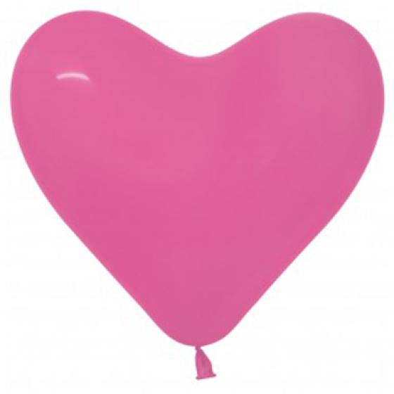 Sempertex 28cm Hearts Fashion Fuchsia Latex Balloons, 12PK