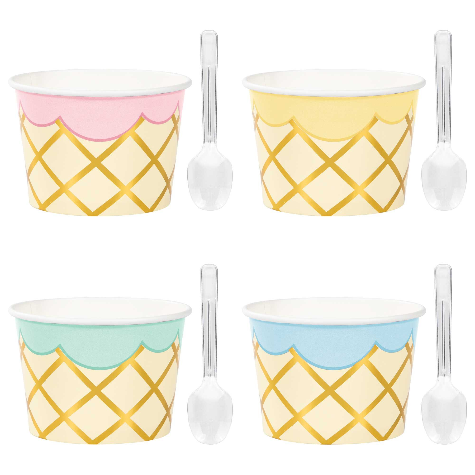 Ice Cream Party Decor Treat Cups Cardboard & Foil & Clear Plastic Spoons