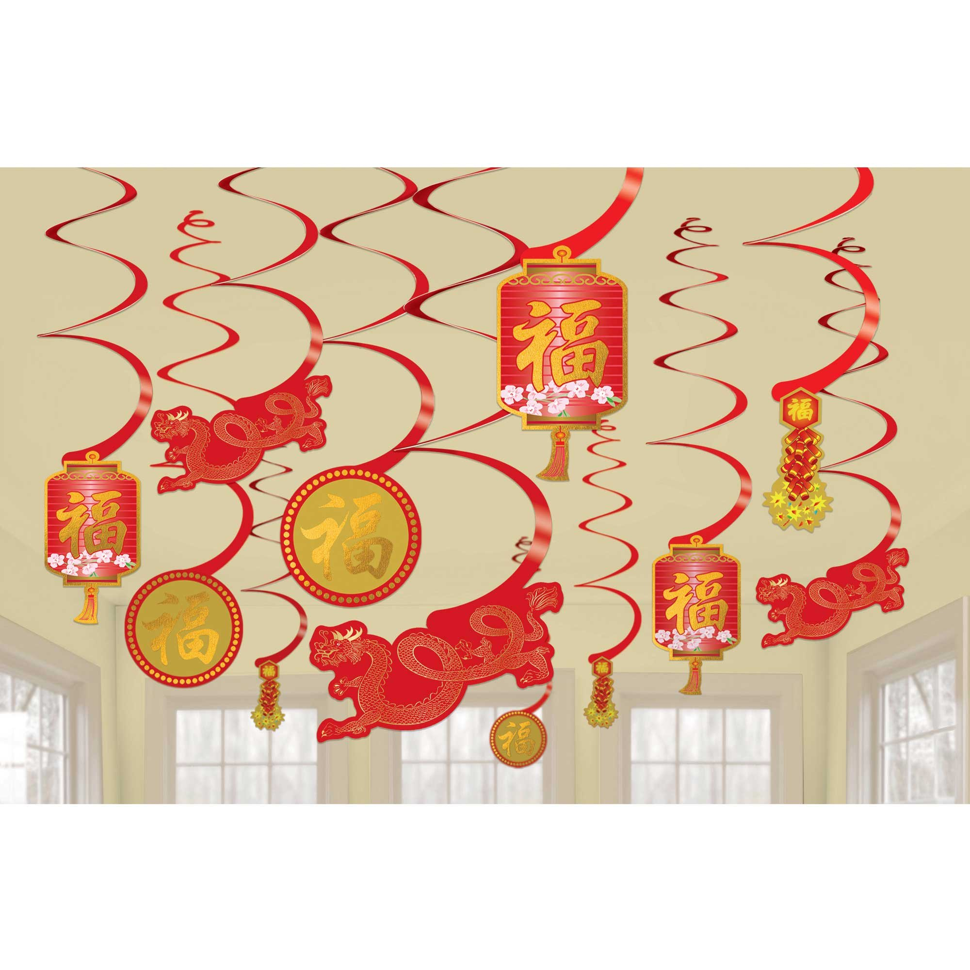 Chinese New Year Swirl Decorations Hot-Stamped Value Pack