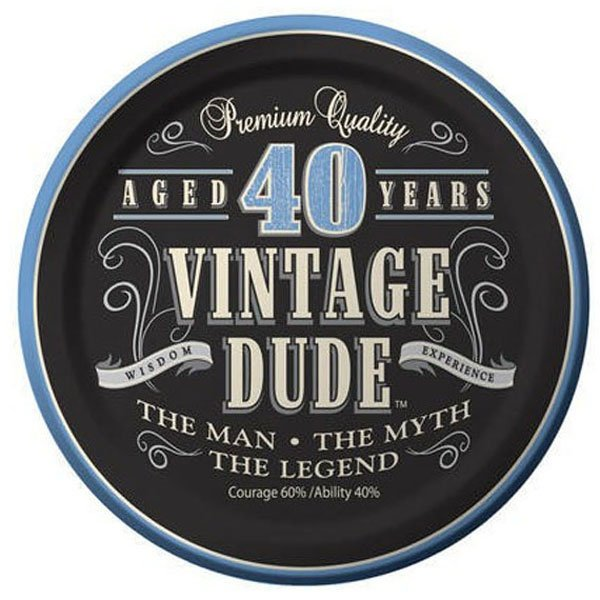 Vintage Dude 40th Birthday Lunch Plates Paper 18cm