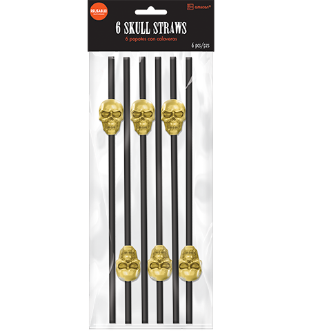 Black Straws with Gold Skull Shapes Reusable
