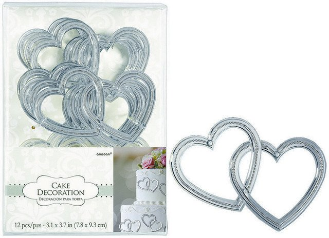 Cake Decorations Plastic - Heart with Gems