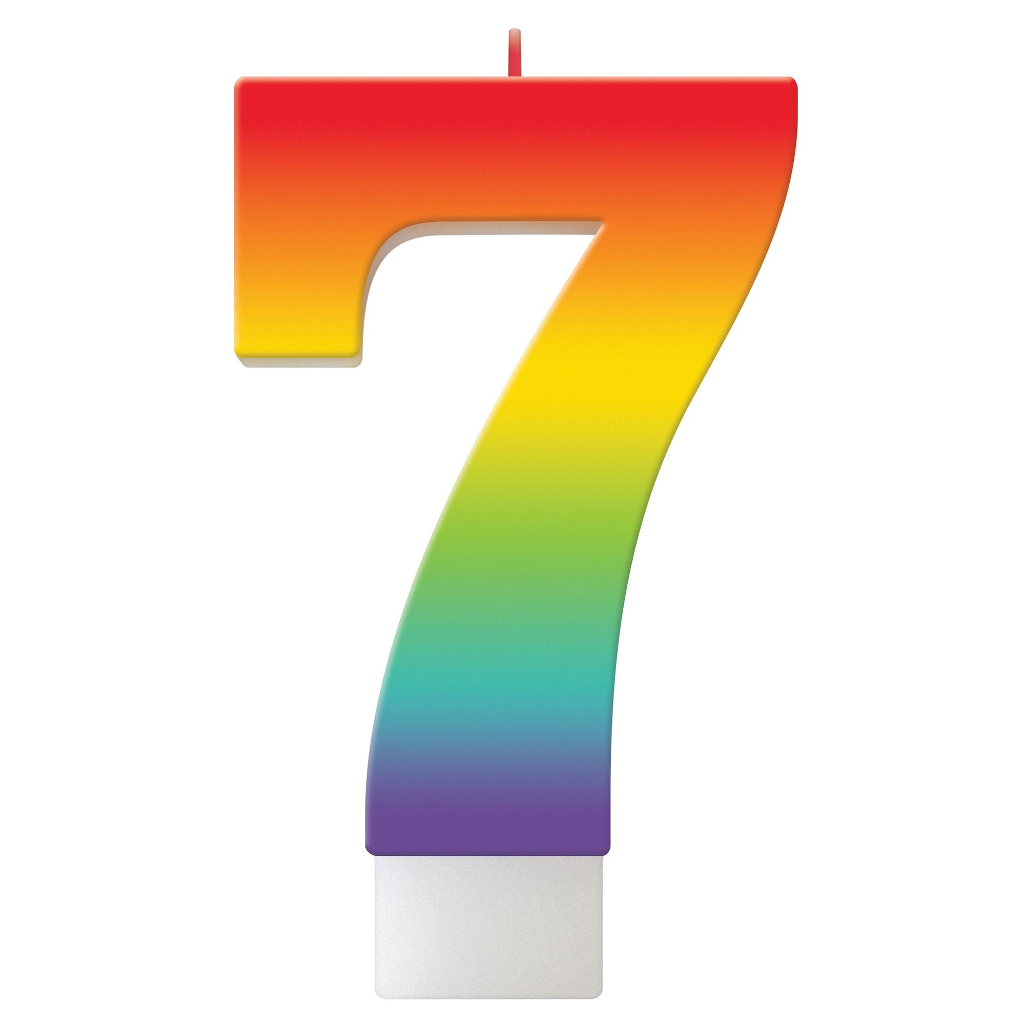 Birthday Celebration Rainbow Candle Number #7