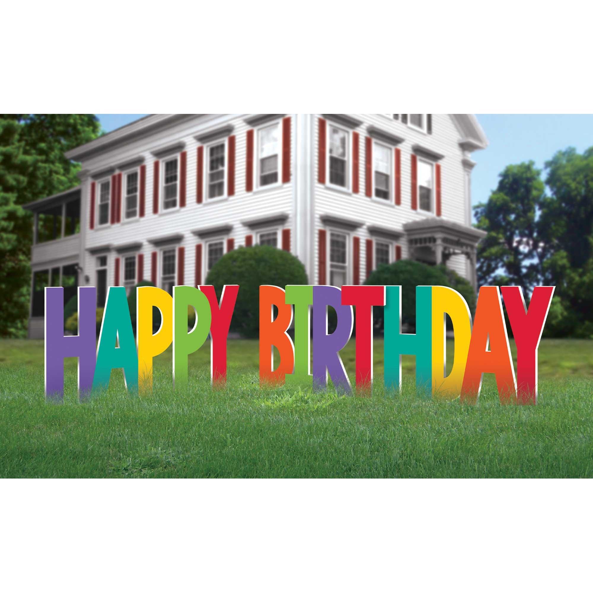 Happy Birthday Yard Sign Rainbow Colours