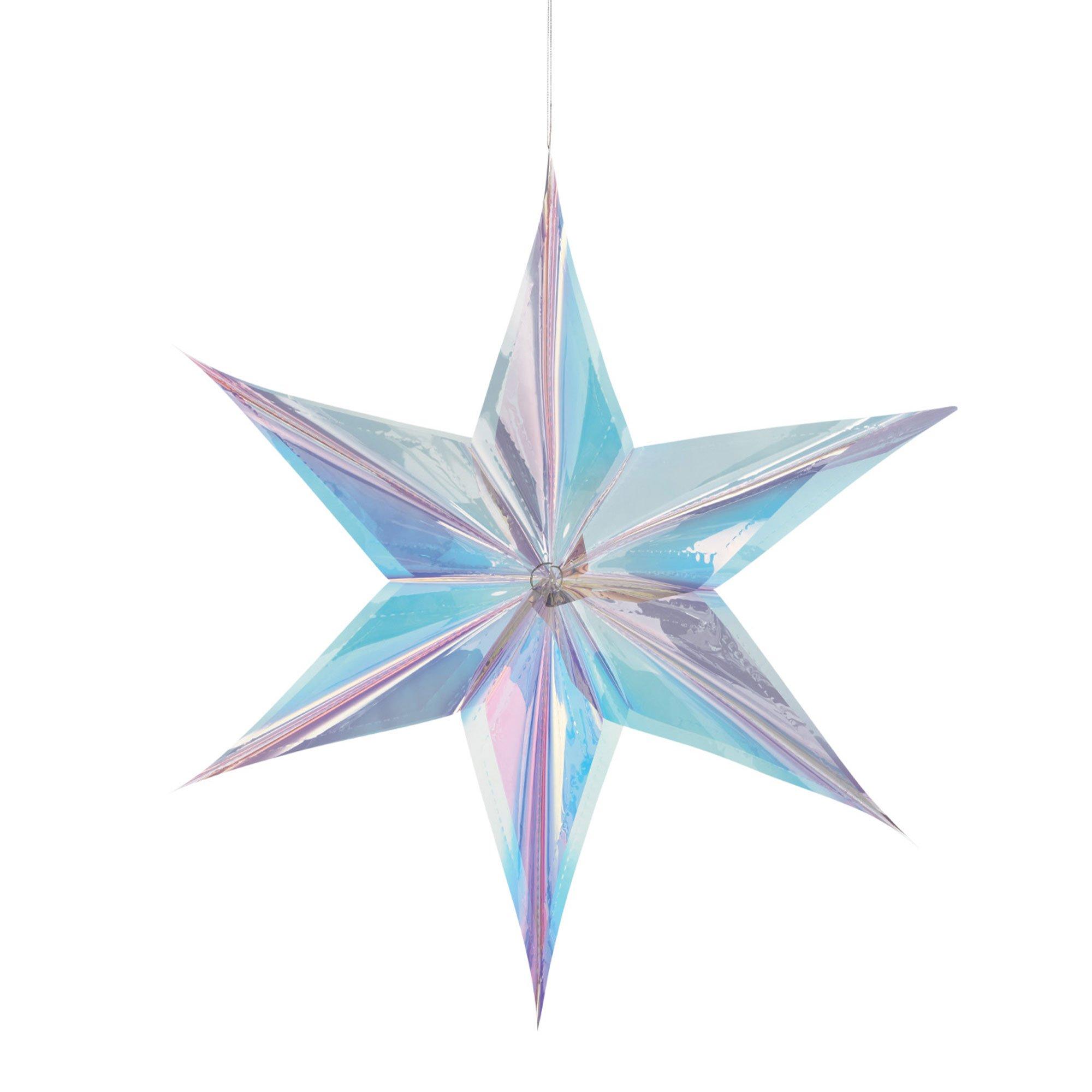 Luminous Birthday Iridescent Foil Star Hanging Decoration