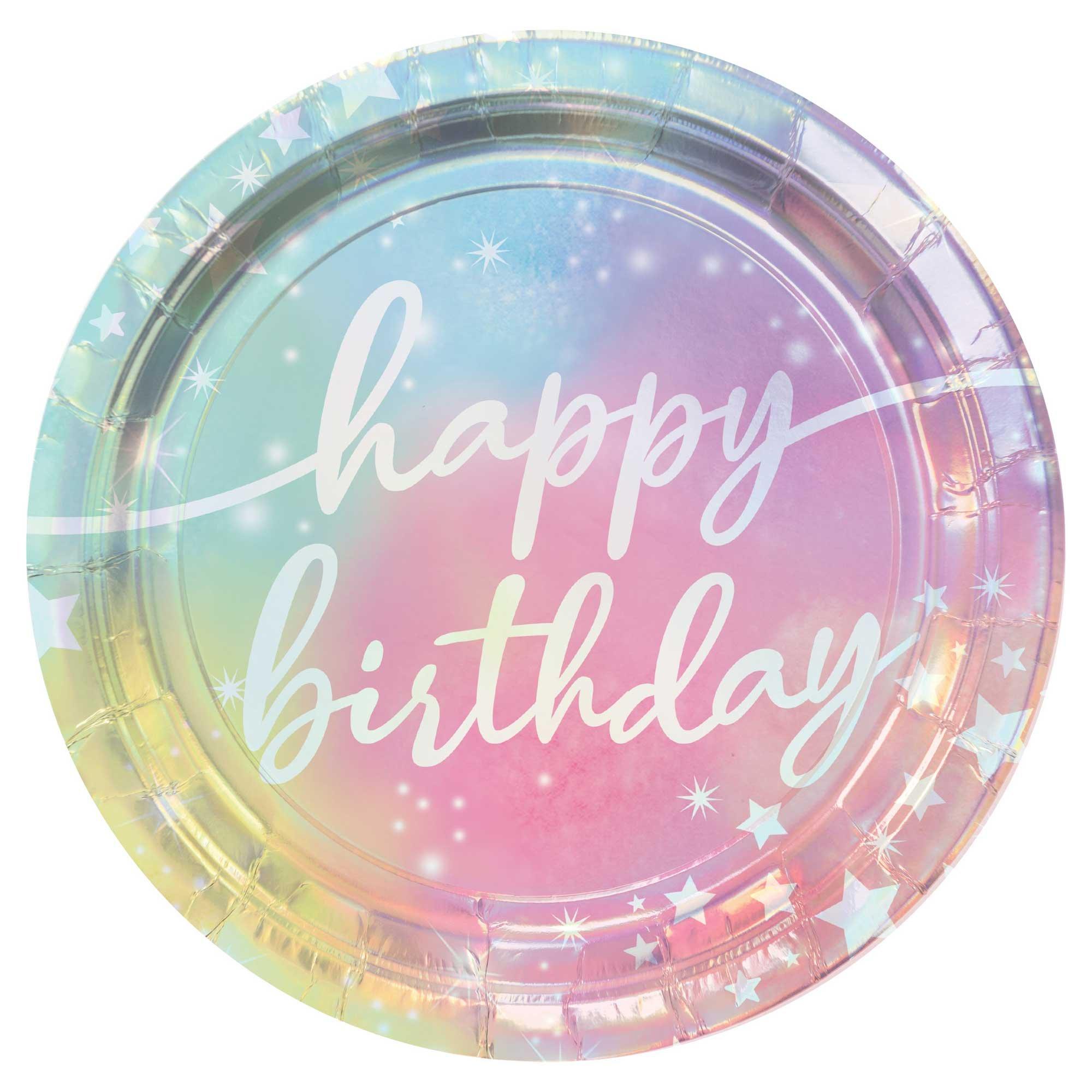 """Luminous Birthday Iridescent 9"""" / 23cm Paper Plates"