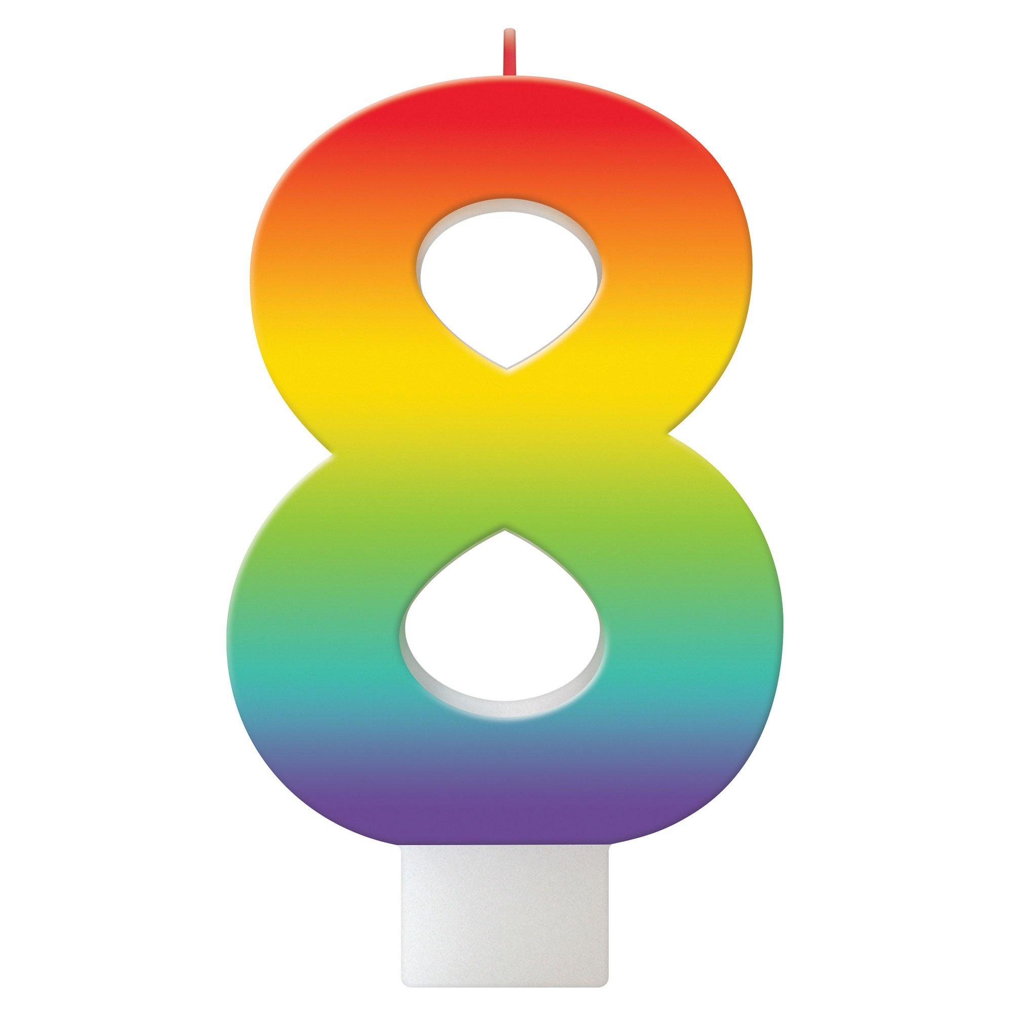 Birthday Celebration Rainbow Candle Number #8