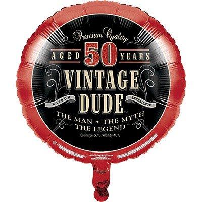 45cm Vintage Dude 50th Birthday Foil Balloon