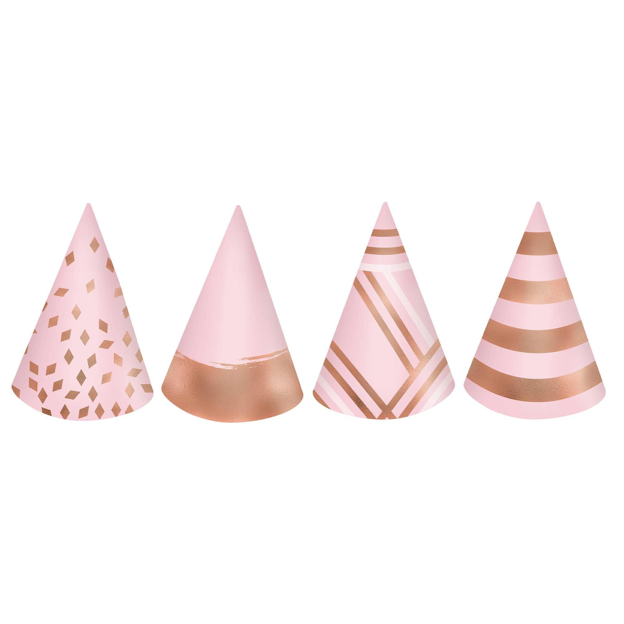 Blush Birthday Mini Cone Hats Cardboard & Foil