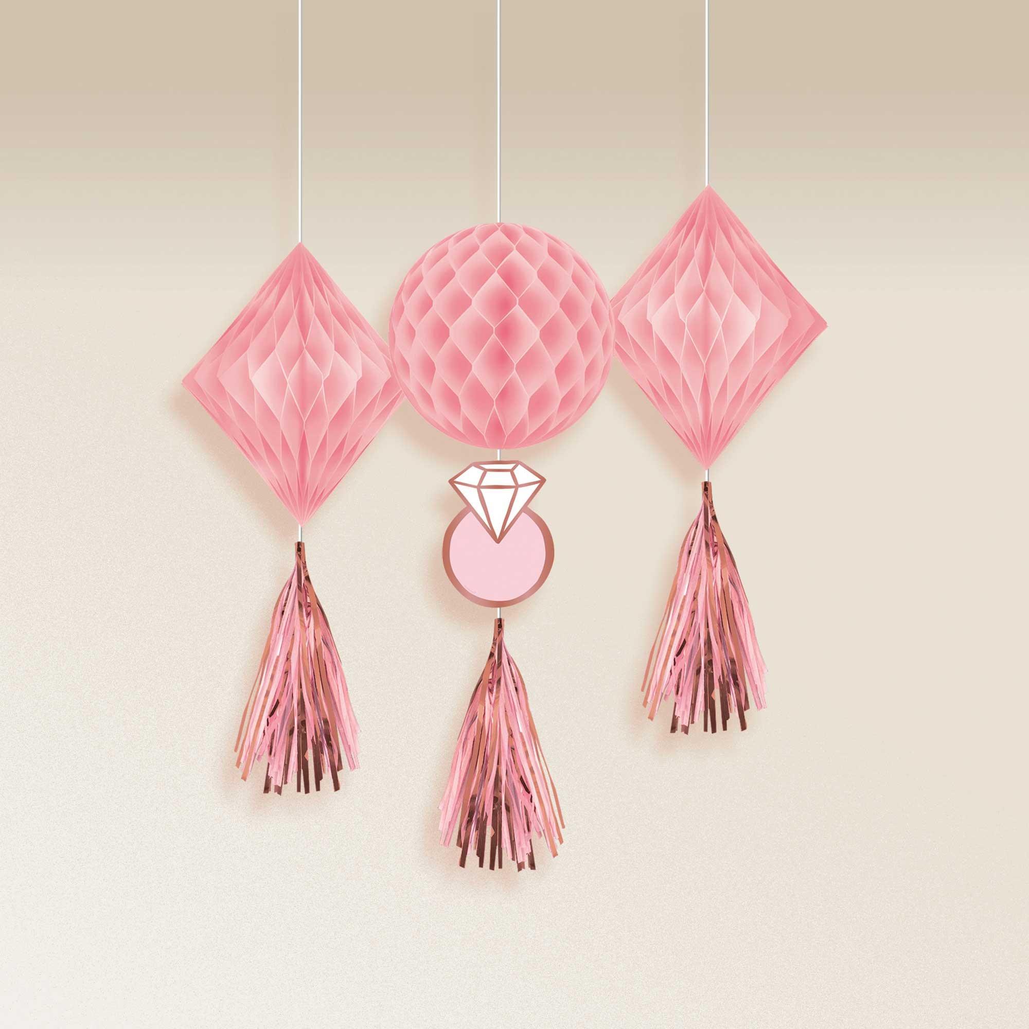 Blush Wedding Honeycomb Hanging Decorations