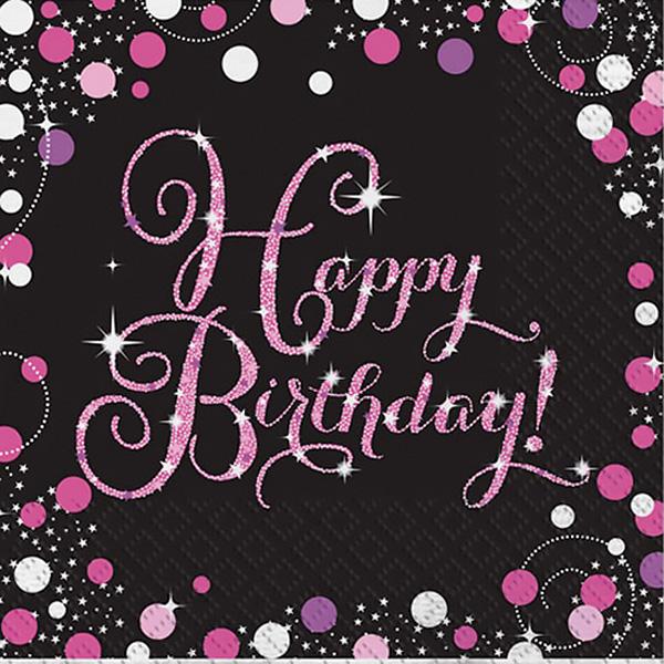 Pink Celebration Happy Birthday Lunch Napkins