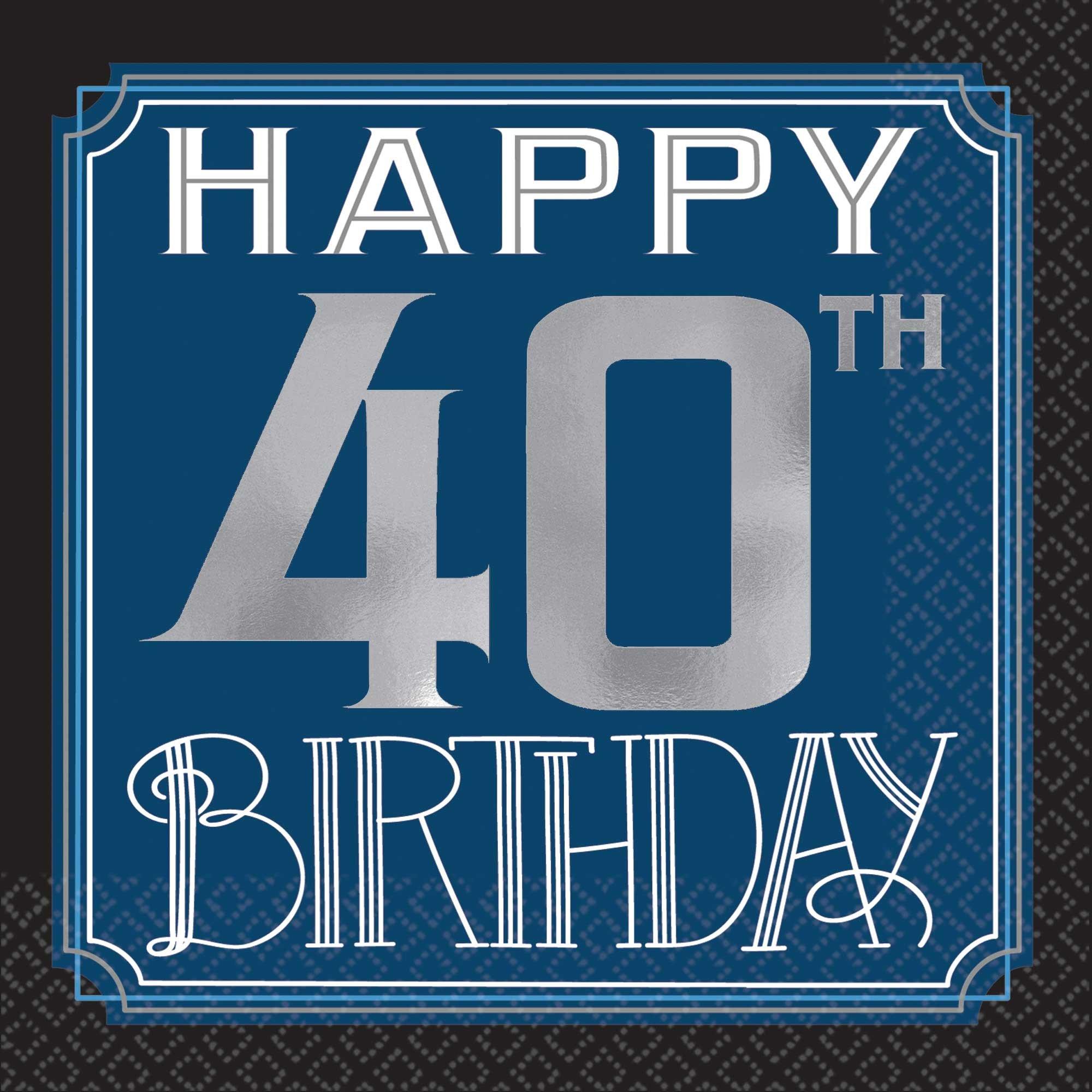 Happy 40th Birthday Man Beverage Napkins Hot Foil Stamped