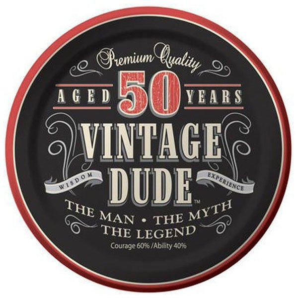 Vintage Dude 50th Birthday Lunch Plates Paper 18cm