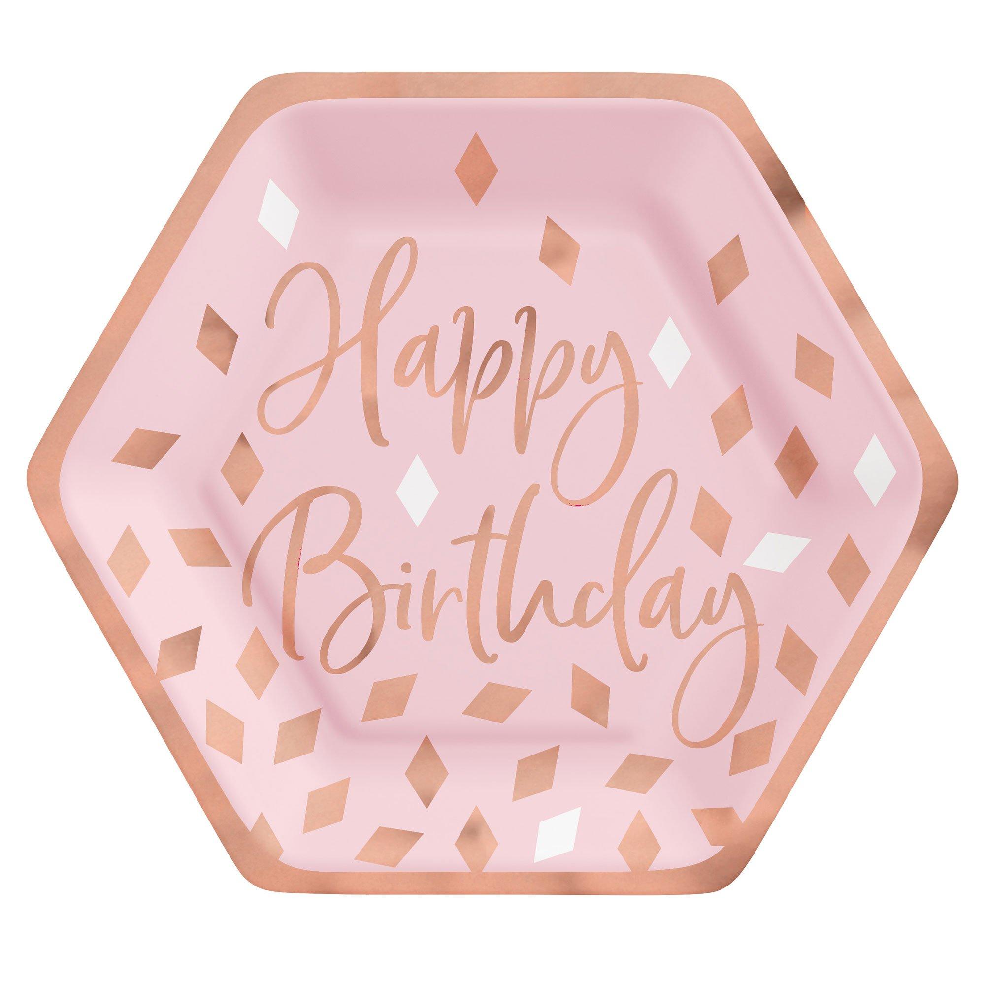 """Blush Birthday 7"""" / 17cm Hexagonal Metallic Paper Plates"