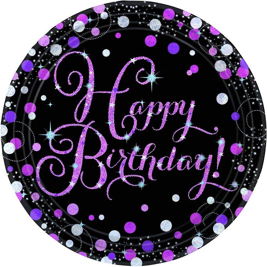 Pink Celebration Happy Birthday 23cm Prismatic Plates