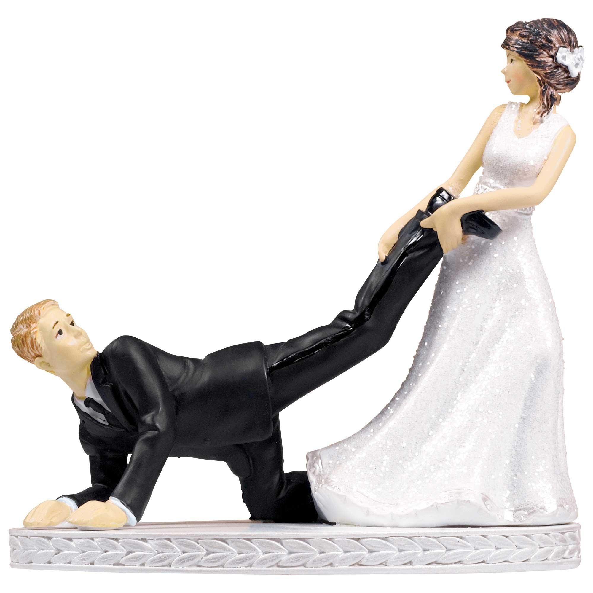 Cake Topper Bride & Groom Leg Puller Resin