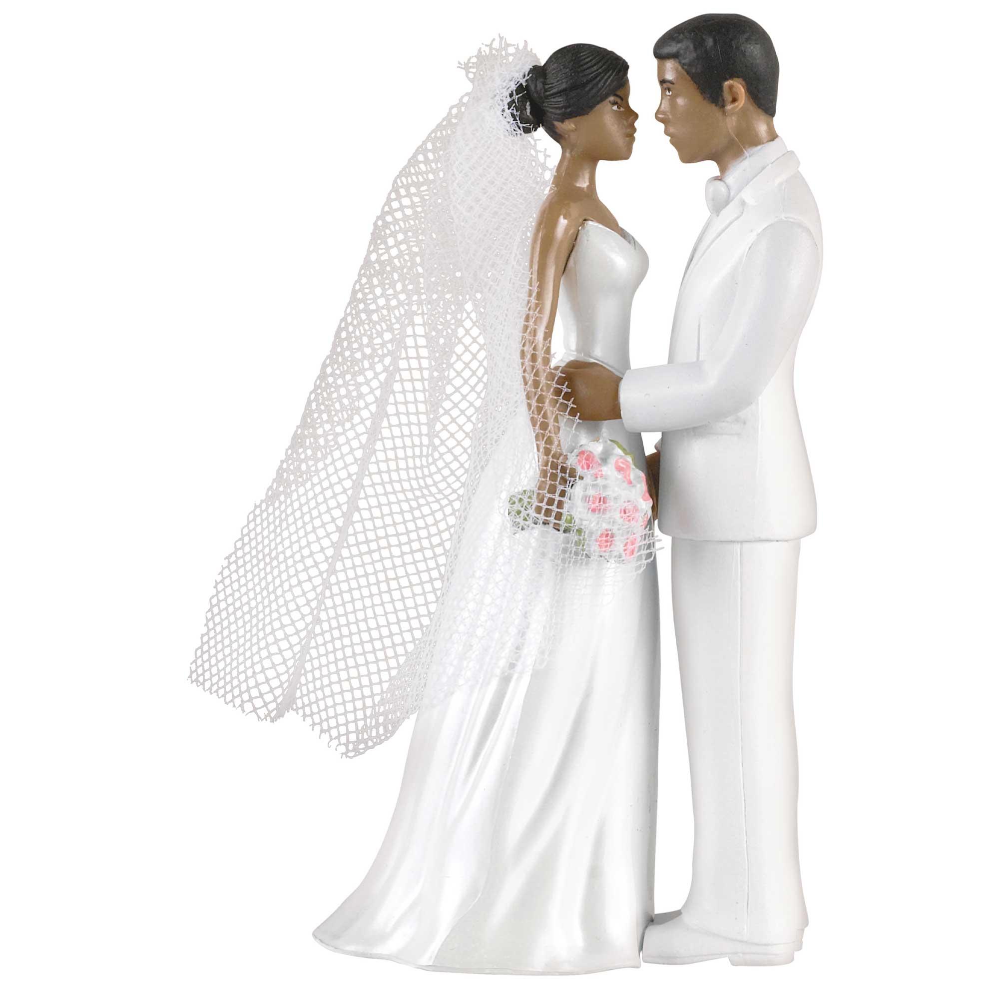 Cake Topper Bride & Groom African American Plastic