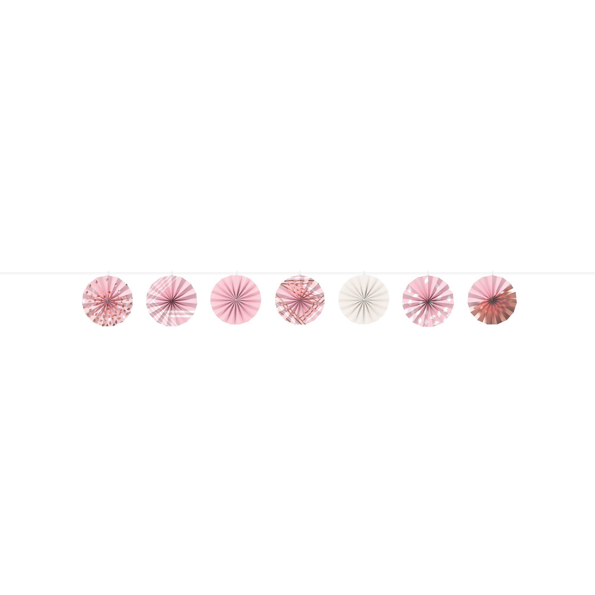 Rose Gold & Blush Mini Paper Fans Ribbon Garland Foil Hot Stamped