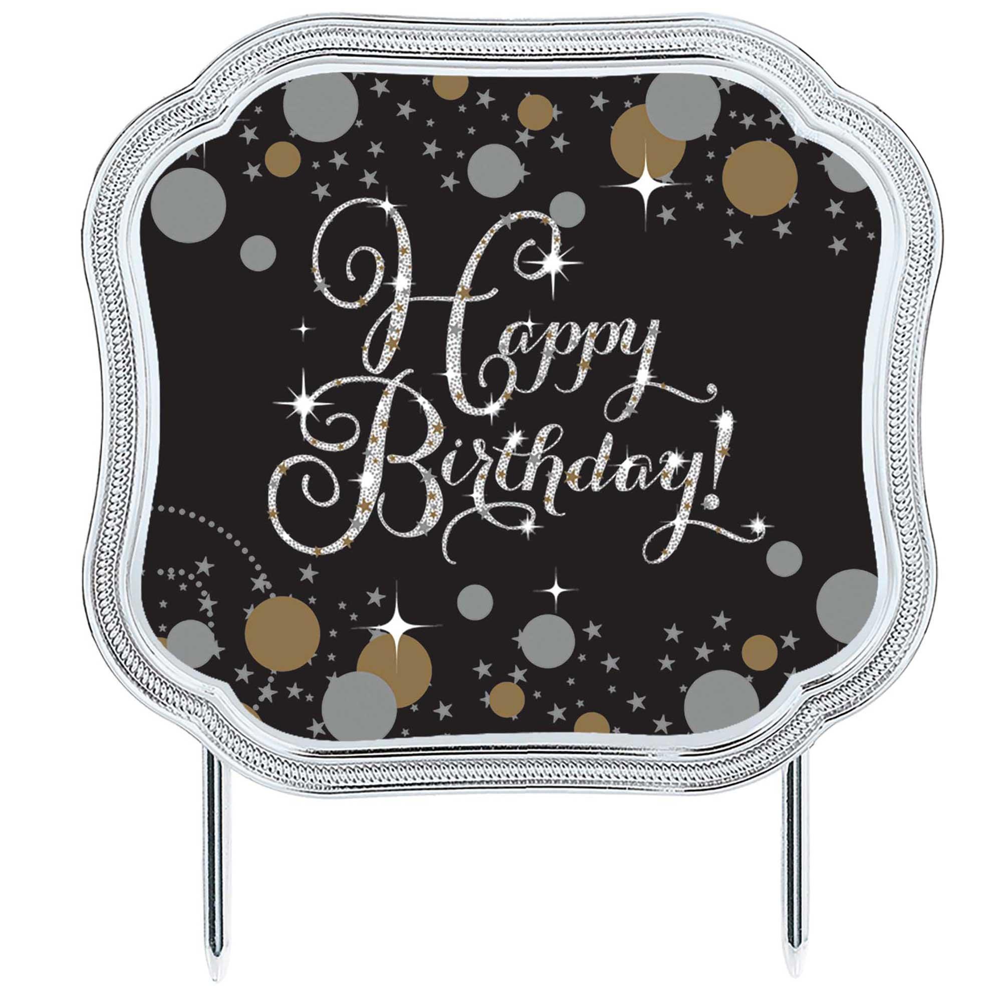 Sparkling Celebration Add Any Age Happy Birthday Cake Topper & 28 Stickers