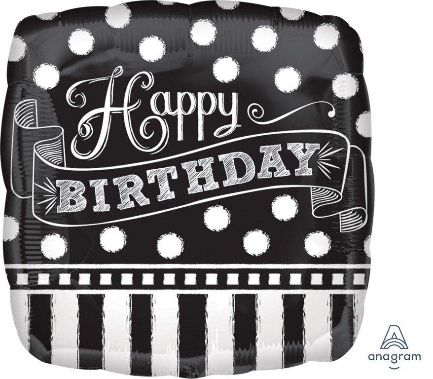 45cm Standard HX Black & White Chalkboard Birthday S40