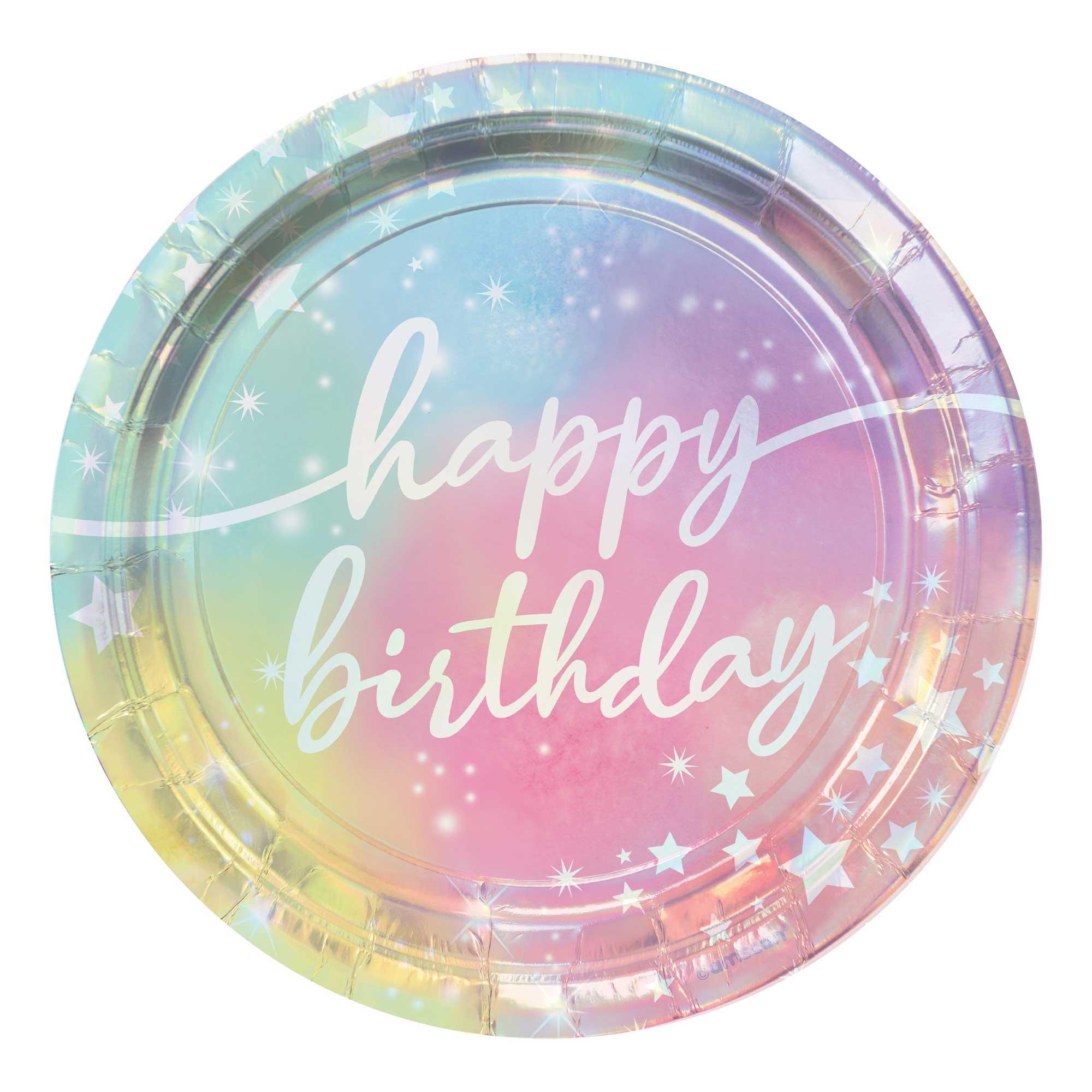 """Luminous Birthday Iridescent 7"""" / 17cm Paper Plates"