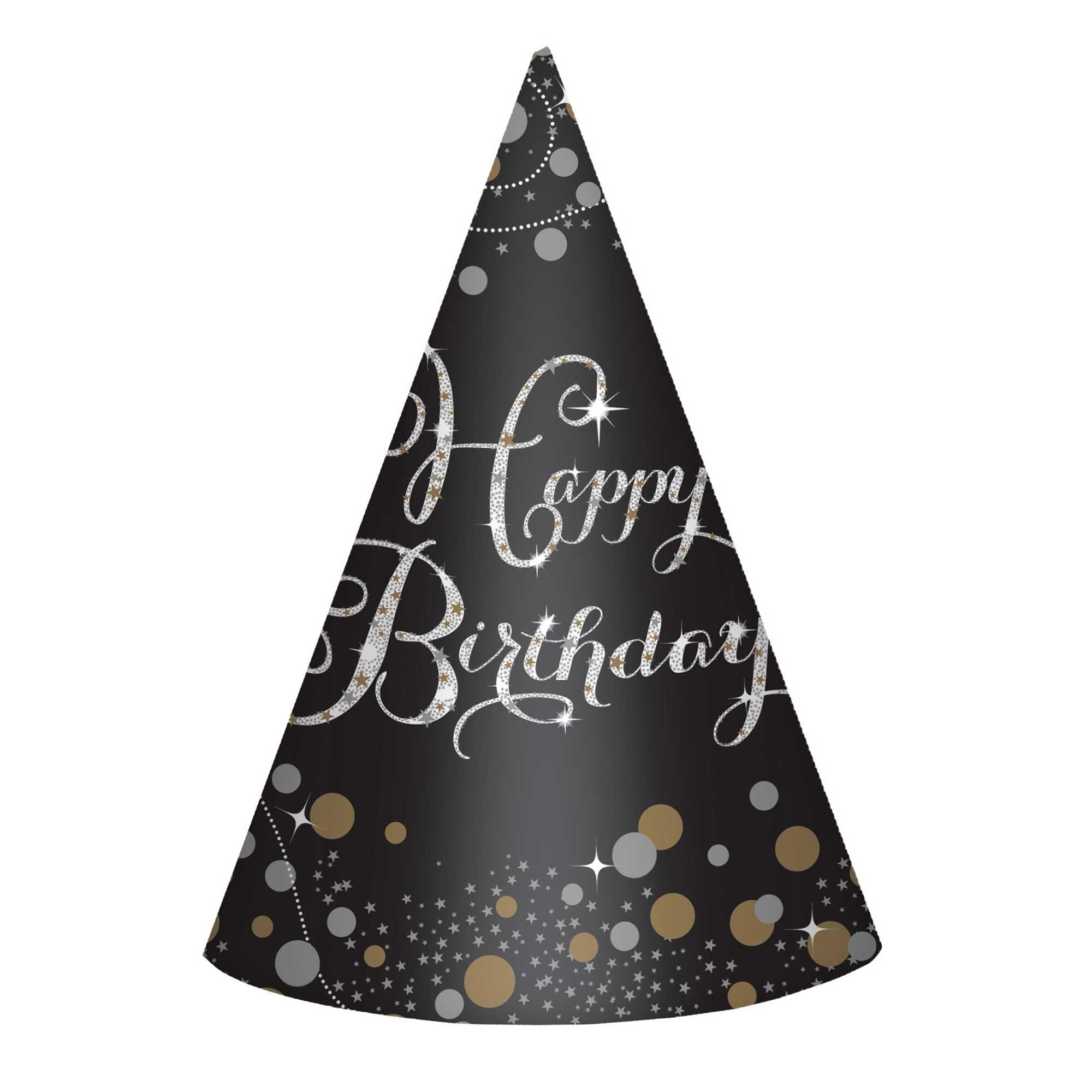 Sparkling Celebration Happy Birthday Cone Hats