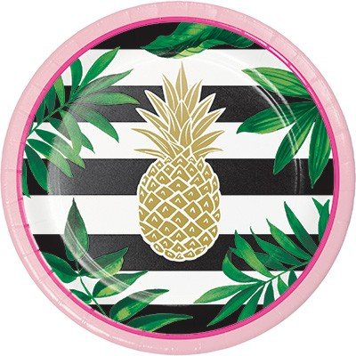 Pineapple Wedding Lunch Plates Paper & Foil Stamped 18cm