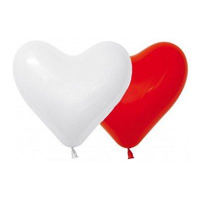 Sempertex 28cm Hearts Fashion Red & White Latex Balloons, 12PK