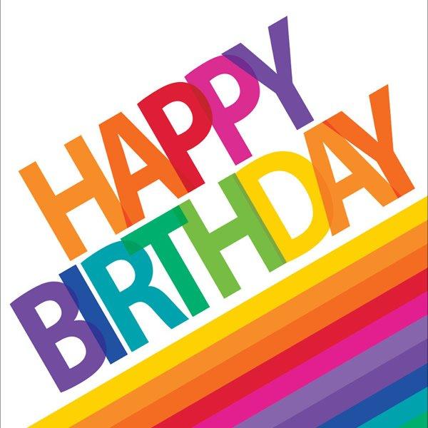 Rainbow Lunch Napkins Happy Birthday