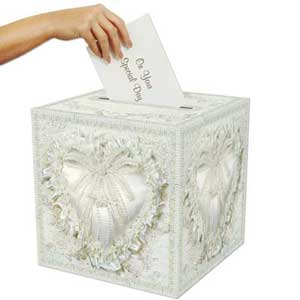 Receiving Card Box White Deluxe Hearts Pattern 30cm x 30cm