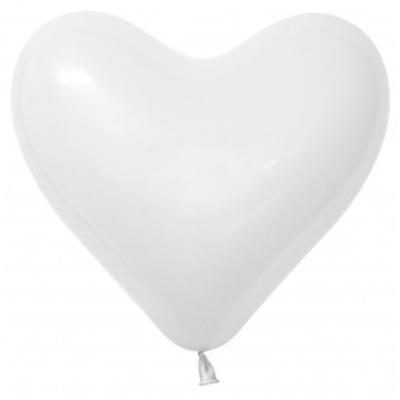 Sempertex 15cm Hearts Fashion White Latex Balloons, 50PK