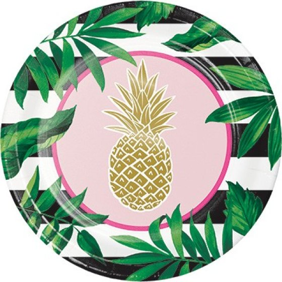 Pineapple Wedding Banquet Plates Paper & Foil Stamped 26cm