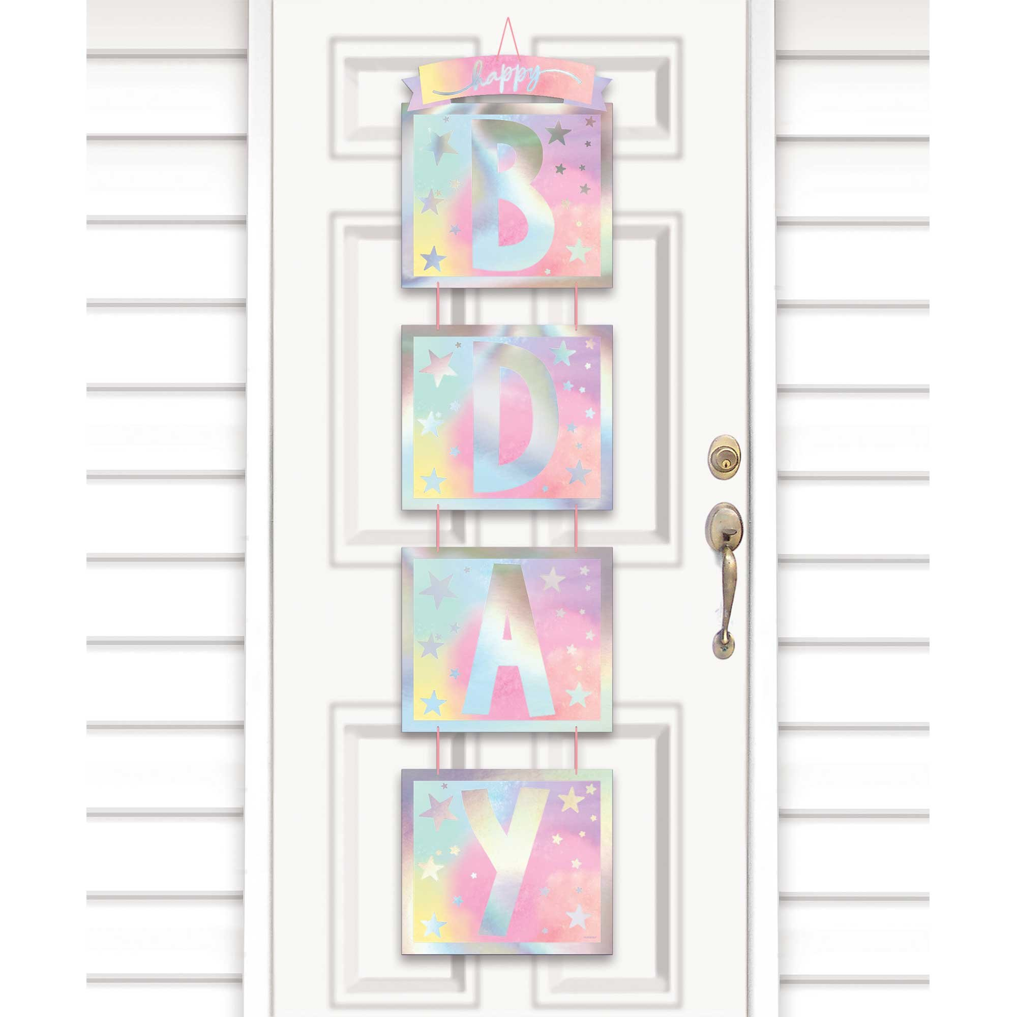 Luminous Birthday Iridescent Foil BDAY Door Hanging Decoration