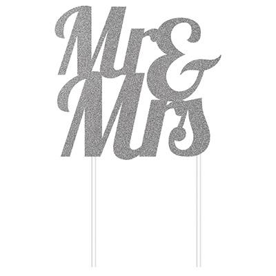 Cake Topper Mr & Mrs Silver Glittered