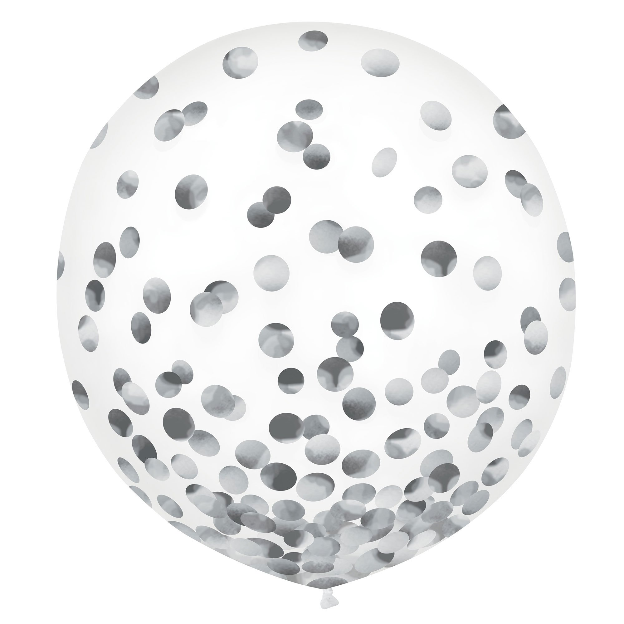 Latex Balloons 60cm & Confetti Silver